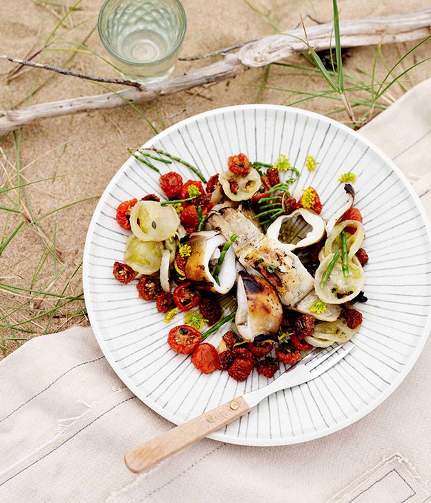 **Calamari with sun-dried tomatoes and fennel pollen**