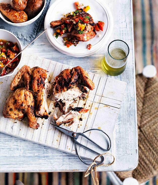 Charcoal-grilled chicken with aji (Pollo a la Brasa)