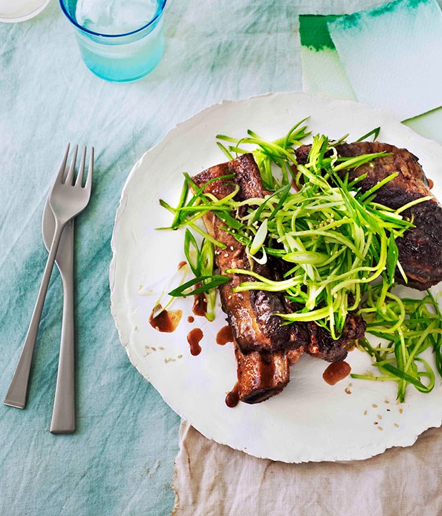 **Sticky master-stock beef ribs with cucumber-sesame relish**