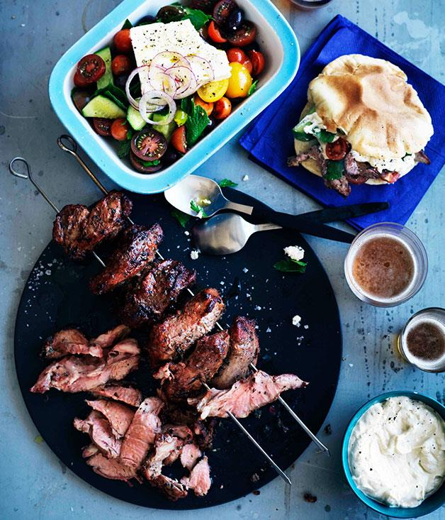 "**[Lamb yiros with yoghurt, tahini and garlic sauce and homemade pita bread](https://www.gourmettraveller.com.au/recipes/browse-all/lamb-yiros-with-yoghurt-tahini-and-garlic-sauce-and-homemade-pita-bread-11142|target=""_blank"")**"