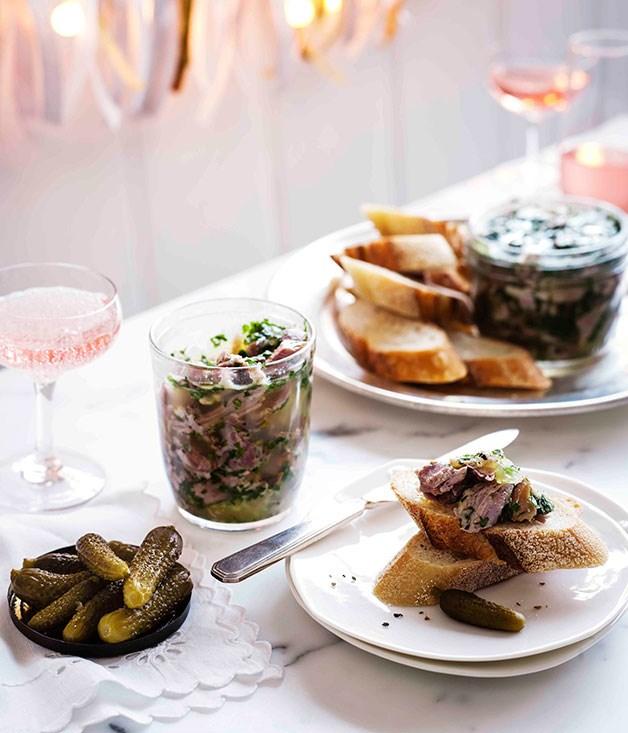 Ham persillade with cornichons