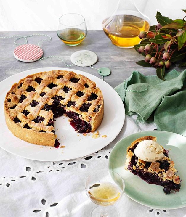 Blueberry crostata with hazelnut and crème fraîche ice-cream