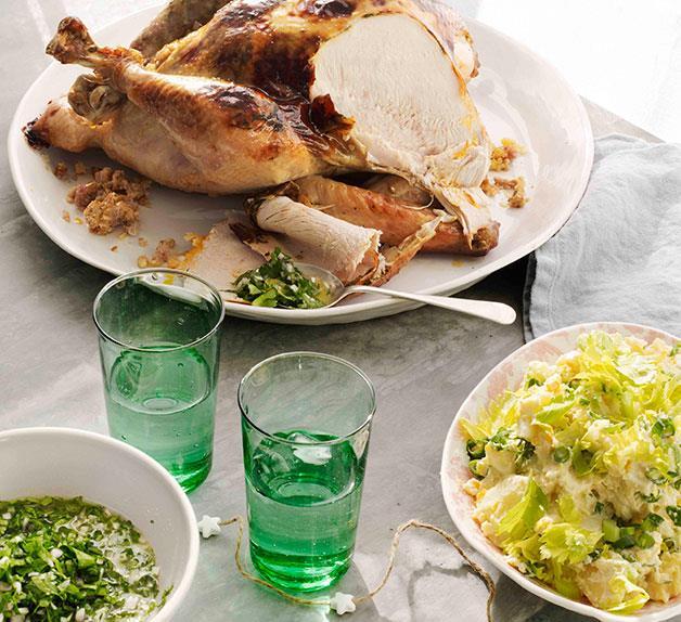 Turkey with cornbread stuffing and potato salad