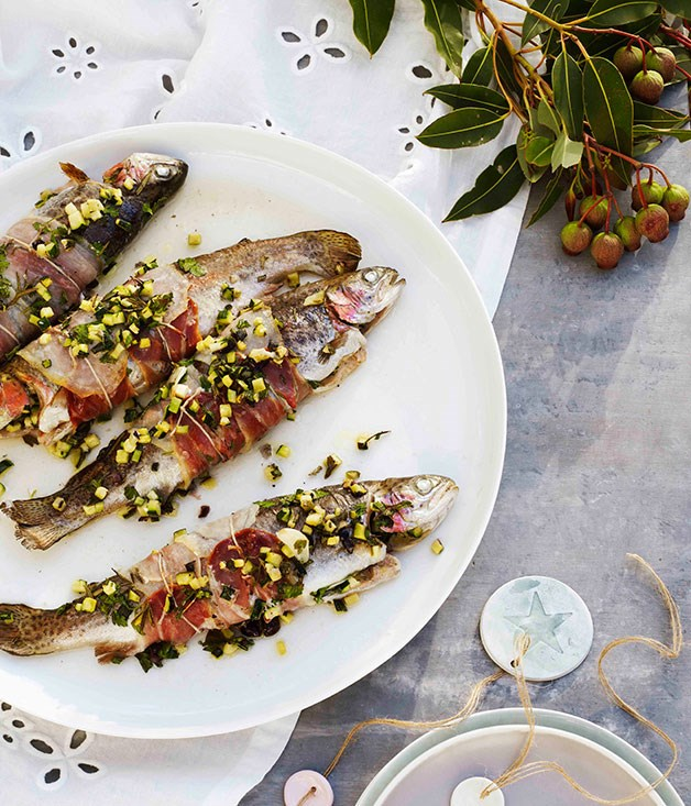Zucchini-stuffed rainbow trout