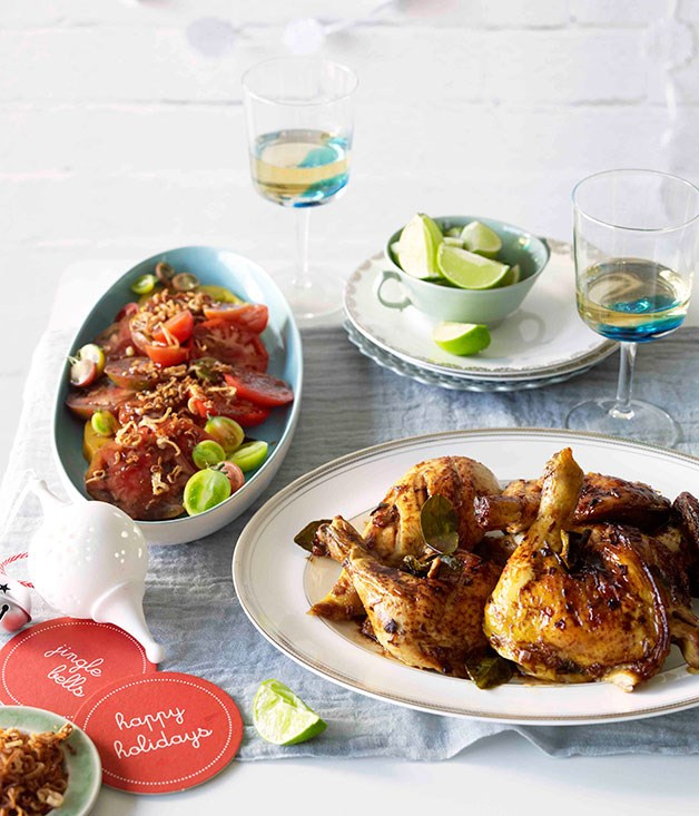 Roast chilli chicken with tomato and tamarind salad