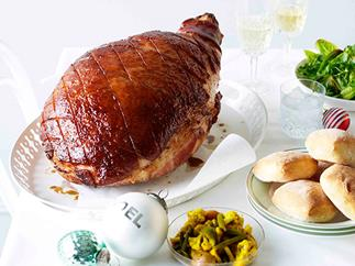 Cider and mustard-spiced baked ham with piccalilli