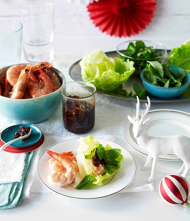 **Prawns with shallot and chilli jam, herbs and crisp lettuce**