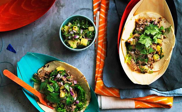 Quail larb tacos with grilled pineapple salsa