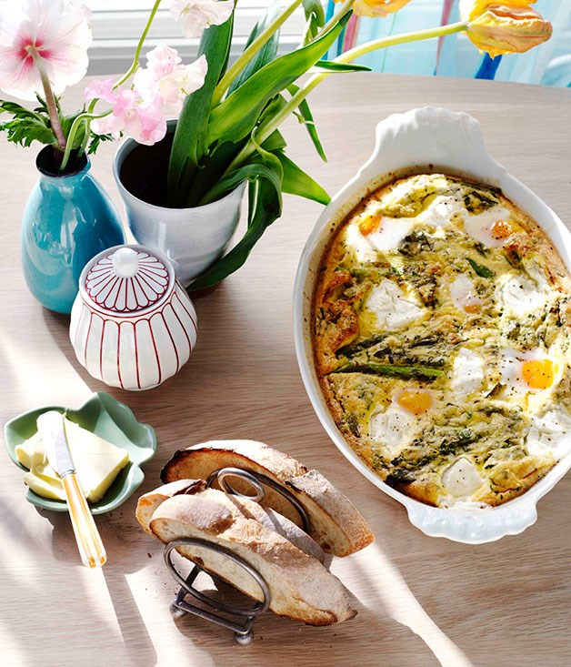 Grilled asparagus, herb and goat's curd baked eggs