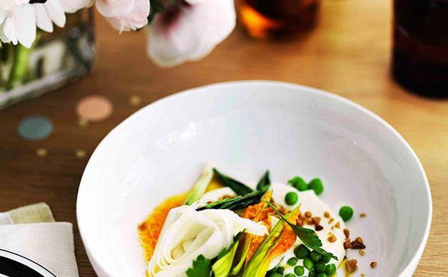 Grilled quail eggs, radish salad, barberry salt