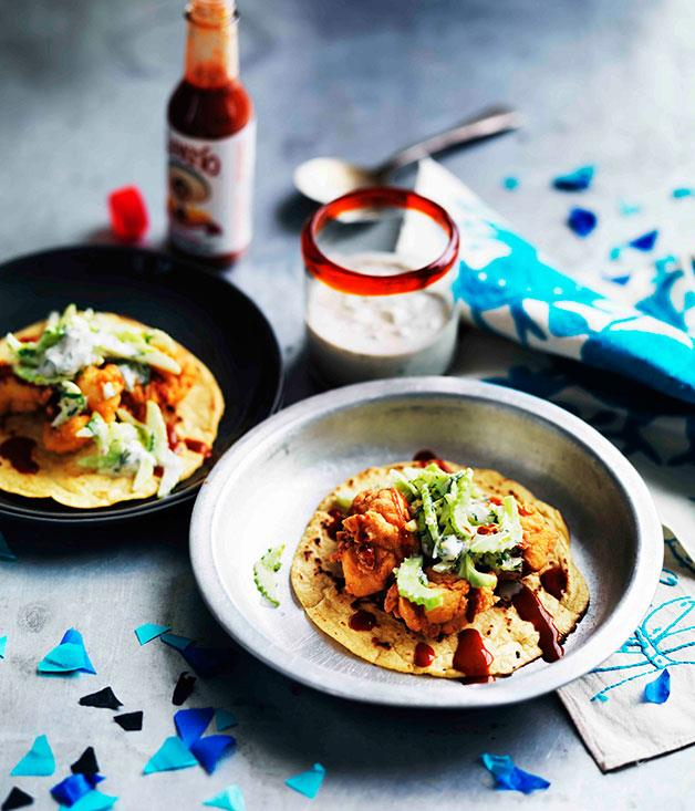 **Popcorn chicken tacos with blue cheese-buttermilk dressing** **Popcorn chicken tacos with blue cheese-buttermilk dressing**    [View Recipe](http://www.gourmettraveller.com.au/popcorn-chicken-tacos-with-blue-cheese-buttermilk-dressing.htm)