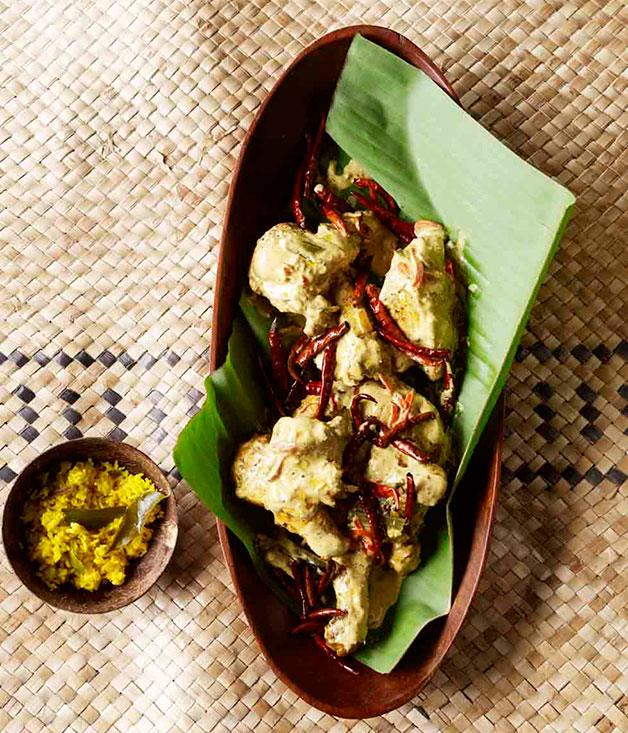 "[Peter Kuruvita's king's chicken curry](http://www.gourmettraveller.com.au/recipes/browse-all/kings-chicken-curry-11235|target=""_blank"")"