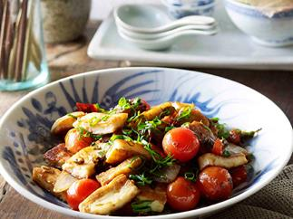 Naxi-style fried goat's cheese, spring onions and tomatoes (Chao rubing)