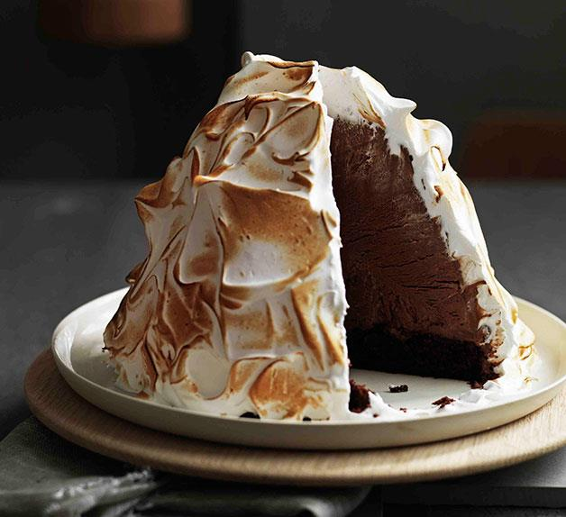 Guinness and chocolate ice-cream bombe Alaska