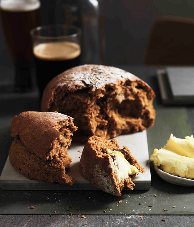 Black beer and caraway bread with homemade butter