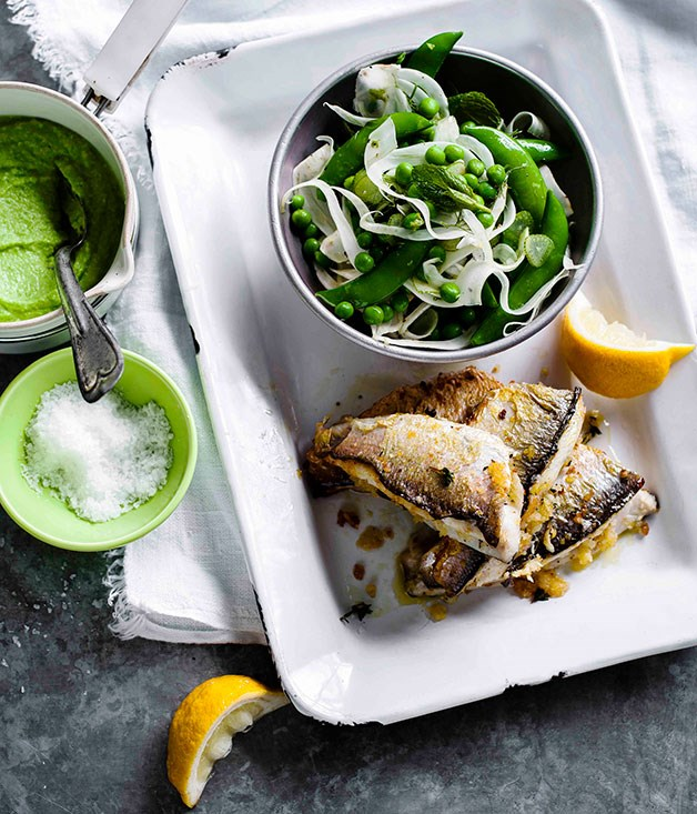 Coorong mullet with pea purée