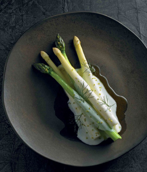 **Asparagus, buttermilk, smoked oil** **Asparagus, buttermilk, smoked oil**    [View Recipe](http://gourmettraveller.com.au/asparagus-buttermilk-smoked-oil.htm)