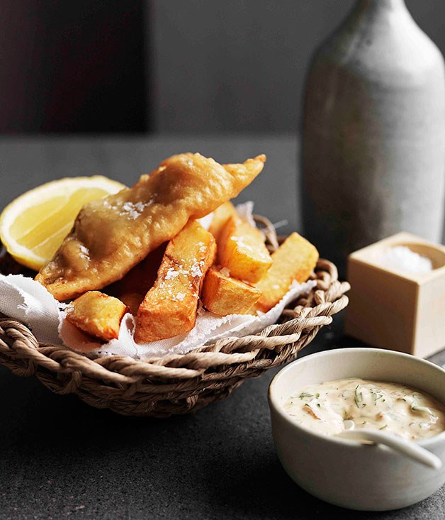 Beer-battered whiting, fat chips and chipotle coriander mayonnaise