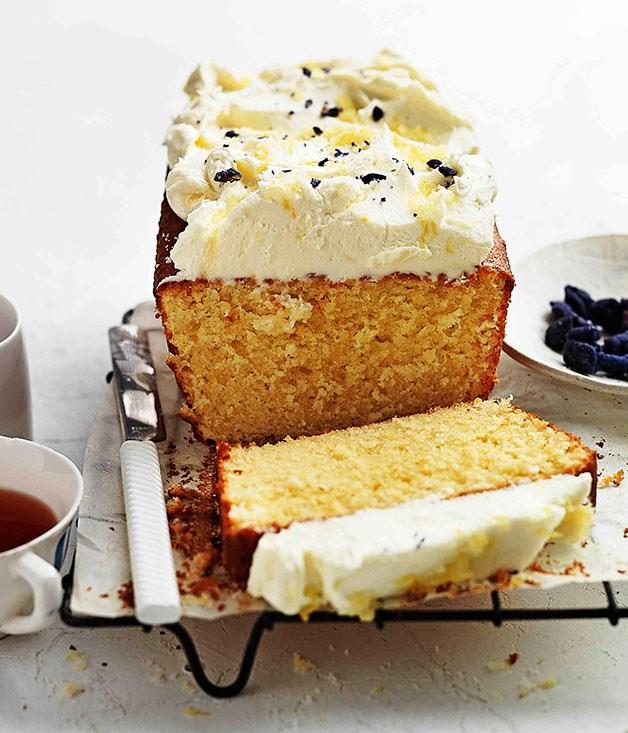 Lemon pound cake with crème fraîche and violets