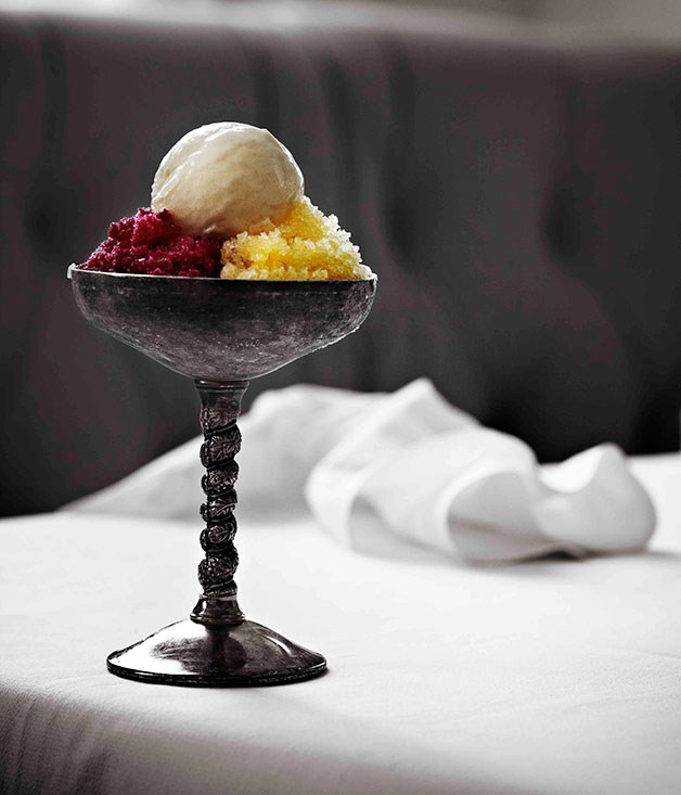 Prickly pear granita, mandarin granita, vanilla ice-cream
