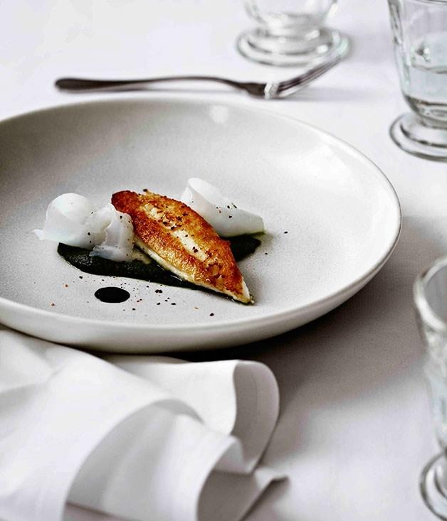 John Dory, nettles, cuttlefish, ink sauce