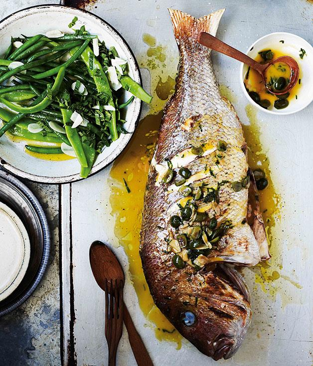 "**[Giovanni Pilu's snapper with white wine, green olives and parsley (Dentice alla vernaccia)](https://www.gourmettraveller.com.au/recipes/browse-all/snapper-with-white-wine-green-olives-and-parsley-dentice-alla-vernaccia-11284|target=""_blank"")**"