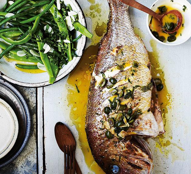 Snapper with white wine, green olives and parsley (dentice alla vernaccia)