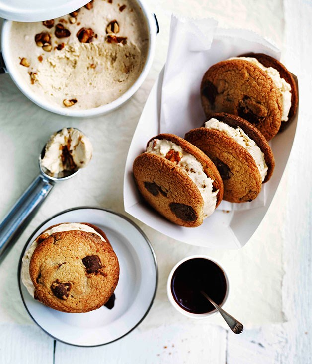 Choc-chip cookies with salted peanut semifreddo