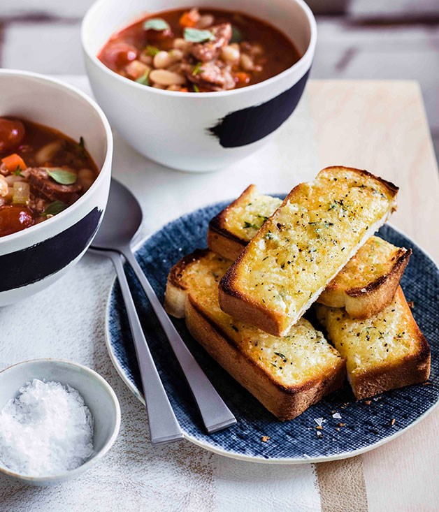 **Bean, chorizo and tomato soup with Manchego soldiers**