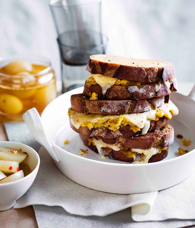 Creamed corn and cheddar toasties with pickled onions