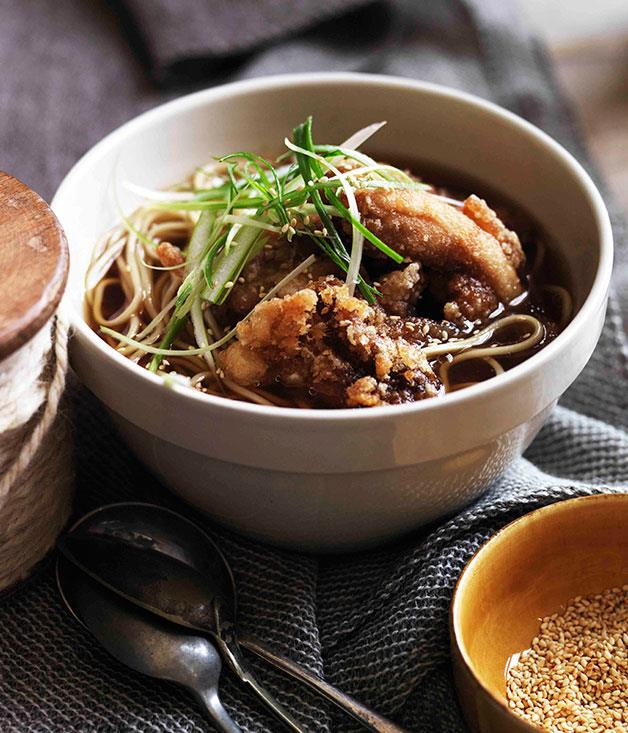 "**[Chicken dashi noodle soup and golden fried chicken](https://www.gourmettraveller.com.au/recipes/browse-all/chicken-noodle-soup-and-golden-fried-chicken-11310|target=""_blank"")**"