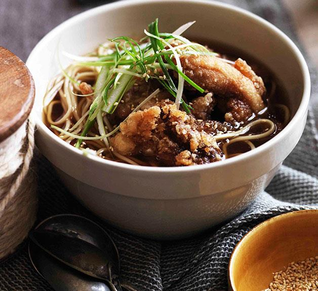 Chicken noodle soup and golden fried chicken