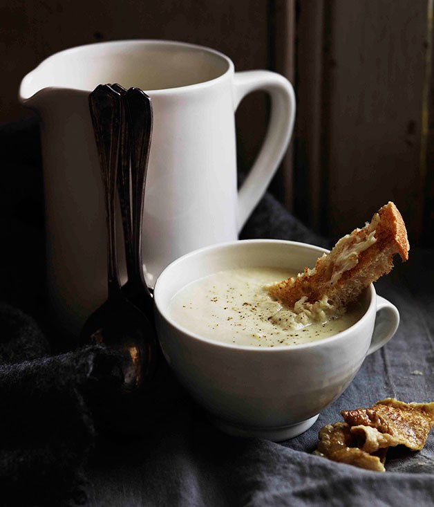 Creamed chicken and leek soup with crisp chicken skin
