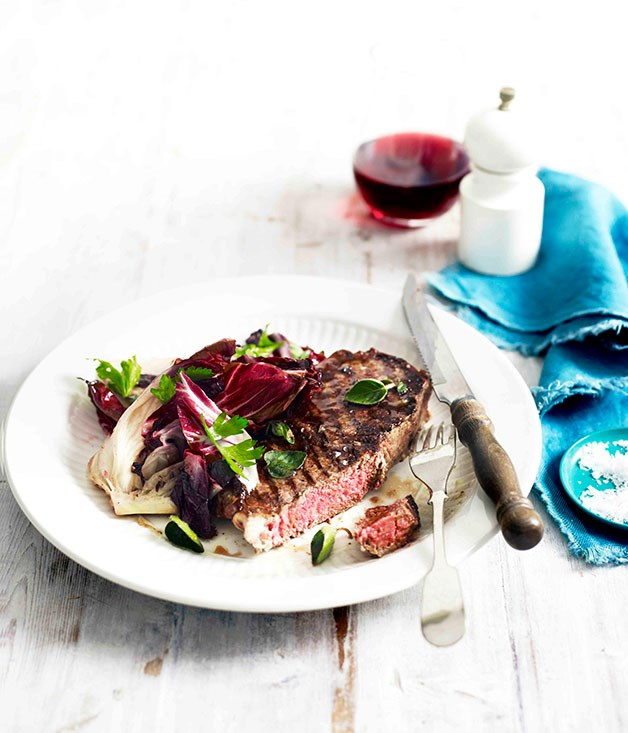 Beef sirloin with wilted radicchio