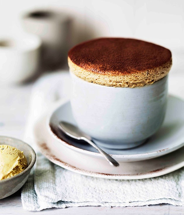 Milk chocolate and date soufflés with caramelised walnut ice-cream