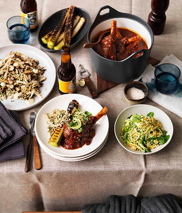**Braised lamb shanks, burnt leeks and zucchini salad** **Braised lamb shanks, burnt leeks and zucchini salad**    [View Recipe](http://gourmettraveller.com.au/braised-lamb-shanks-burnt-leeks-and-zucchini-salad.htm)