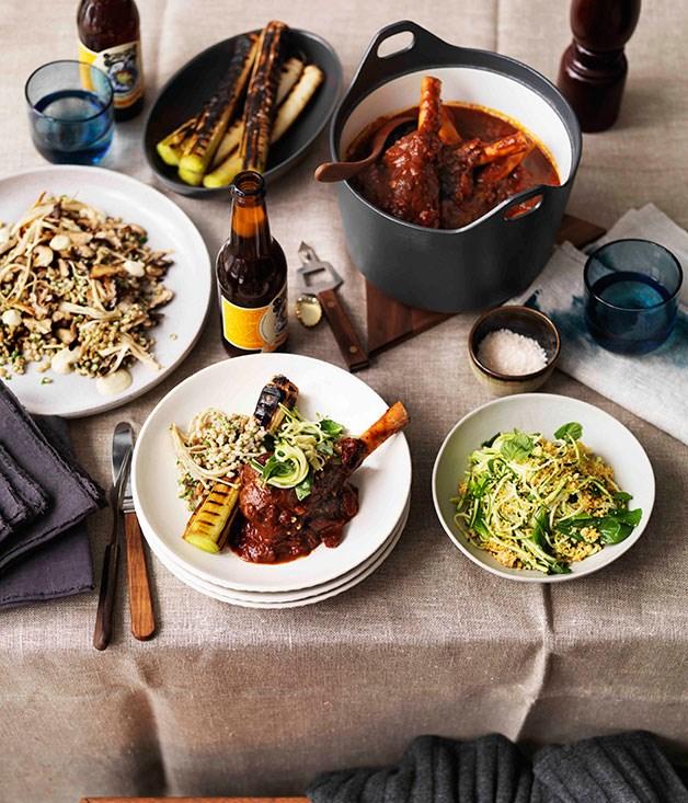 **Braised lamb shanks, burnt leeks and zucchini salad** **Braised lamb shanks, burnt leeks and zucchini salad**    [View Recipe](http://gourmettraveller.com.au/braised-lamb-shanks-burnt-leeks-and-zucchini-salad.htm)