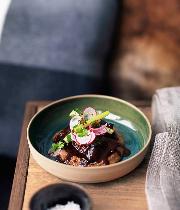 Beef cheeks with radish, mustard seed and pickled celery salad