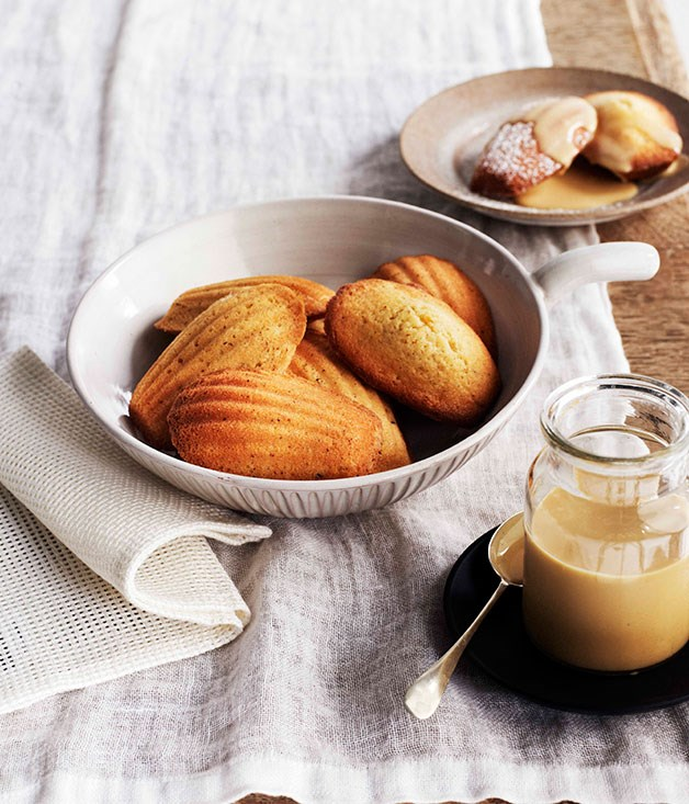 **Orange-blossom madeleines with burnt-honey crème**