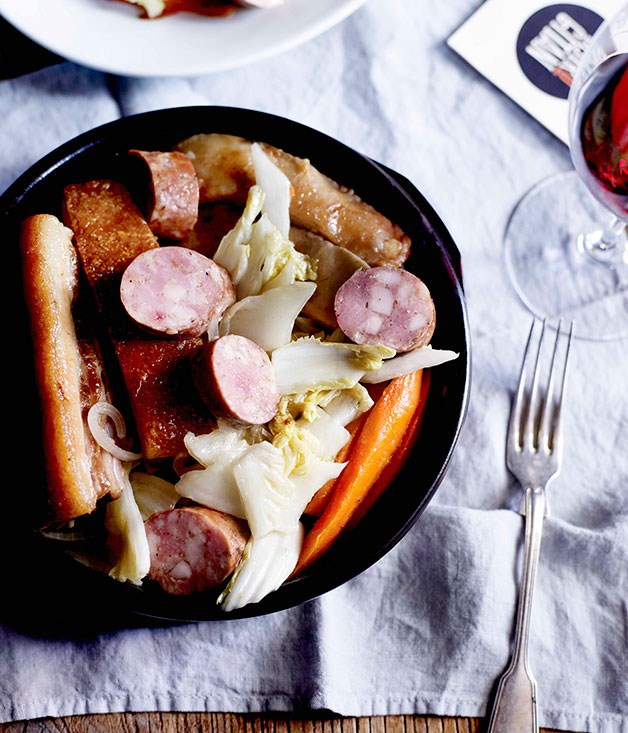 Our own choucroute of pork, pickled cabbage and smoked sausage