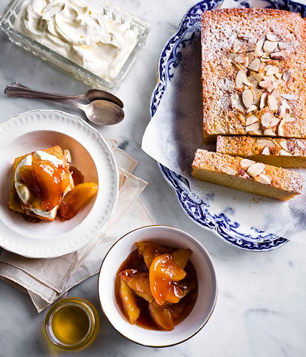 """[**Tipsy cake with brandy apples**](http://www.gourmettraveller.com.au/tipsy-cake-with-brandy-apples.htm