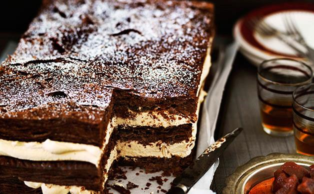 Chocolate millefeuille with burnt white chocolate cream