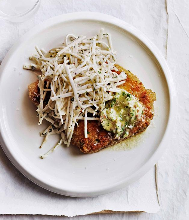 """**[Crumbed pork chops with anchovy butter and celeriac chilli rémoulade](https://www.gourmettraveller.com.au/recipes/browse-all/crumbed-pork-chops-with-anchovy-butter-and-celeriac-chilli-remoulade-11384