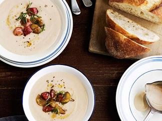 Creamy bacon and celeriac soup with fried chestnuts