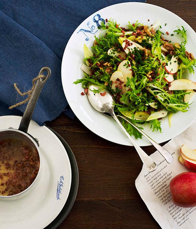"""[**Frisée, witlof and apple salad with bacon bits and bacon fat dressing**](https://www.gourmettraveller.com.au/recipes/browse-all/frisee-witlof-and-apple-salad-with-bacon-bits-and-bacon-fat-dressing-11392