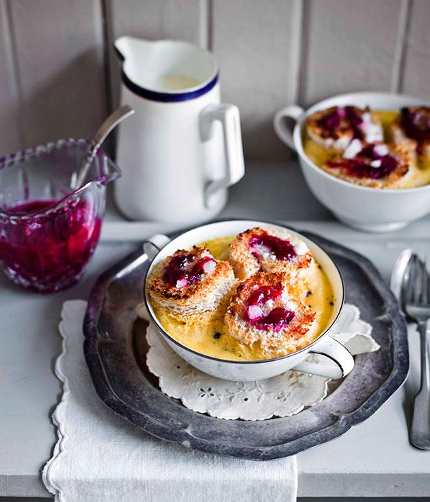 "**[Rhubarb and custard bread pudding](https://www.gourmettraveller.com.au/recipes/browse-all/rhubarb-and-custard-bread-pudding-11397|target=""_blank"")**"