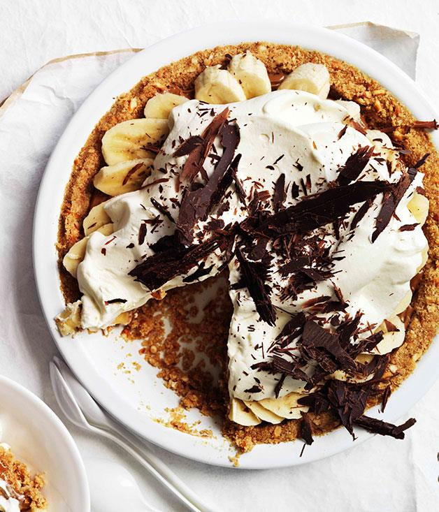 "**[Banoffee pie](http://gourmettraveller.com.au/banoffee-pie.htm|target=""_blank"")** <br> This banana-toffee confection was invented in East Sussex restaurant The Hungry Monk in 1972. Our version aims for a salty-sweet contrast through the addition of pretzels and a salted caramel."