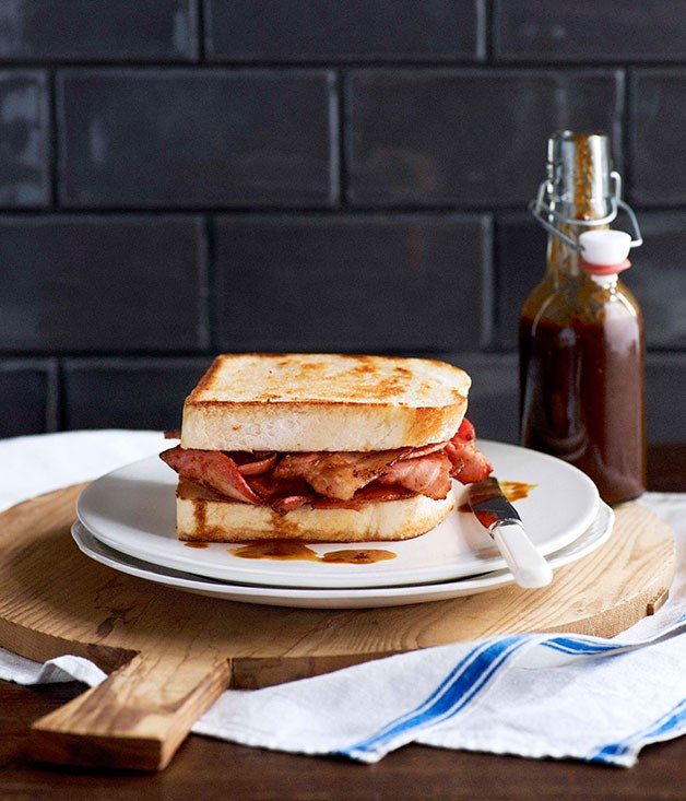 "**[Bacon butties on white bread with homemade HP](http://gourmettraveller.com.au/bacon-butties-on-white-bread-with-homemade-hp.htm|target=""_blank"")** <br> The bacon sanga is a breakfast staple across the UK. Whether than means the Royal Family will be eating these on the morning of the wedding is up for debate, but there's no reason you can't."