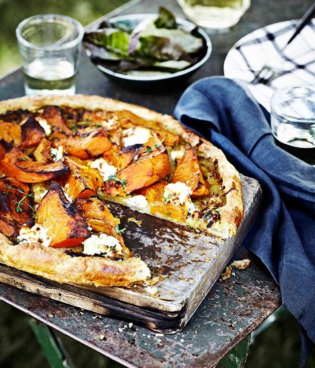 Pumpkin, goat's curd and thyme tart