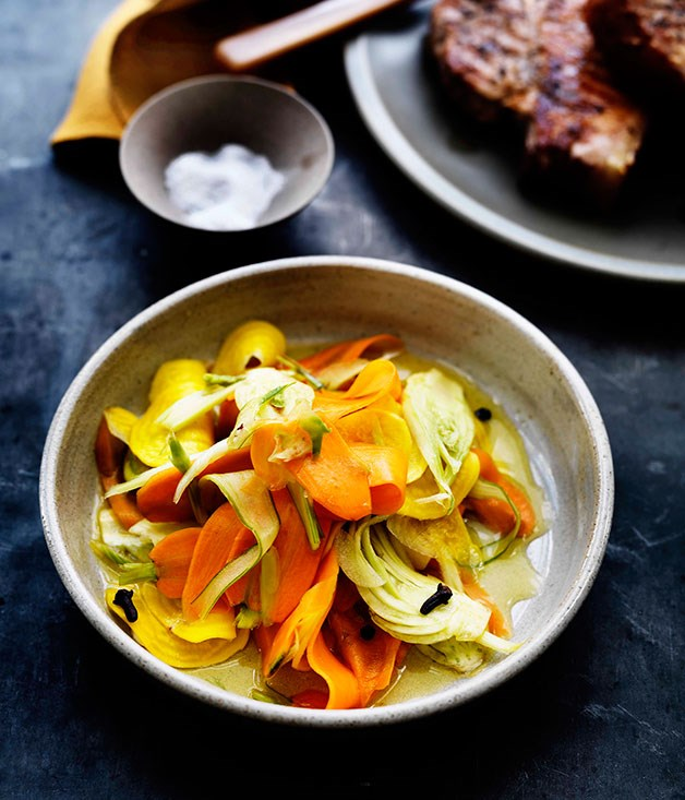 Quick pickled root vegetables